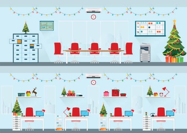 modernes interieur von weihnachten büro mit schreibtisch. - firmenweihnachtsfeier stock-grafiken, -clipart, -cartoons und -symbole
