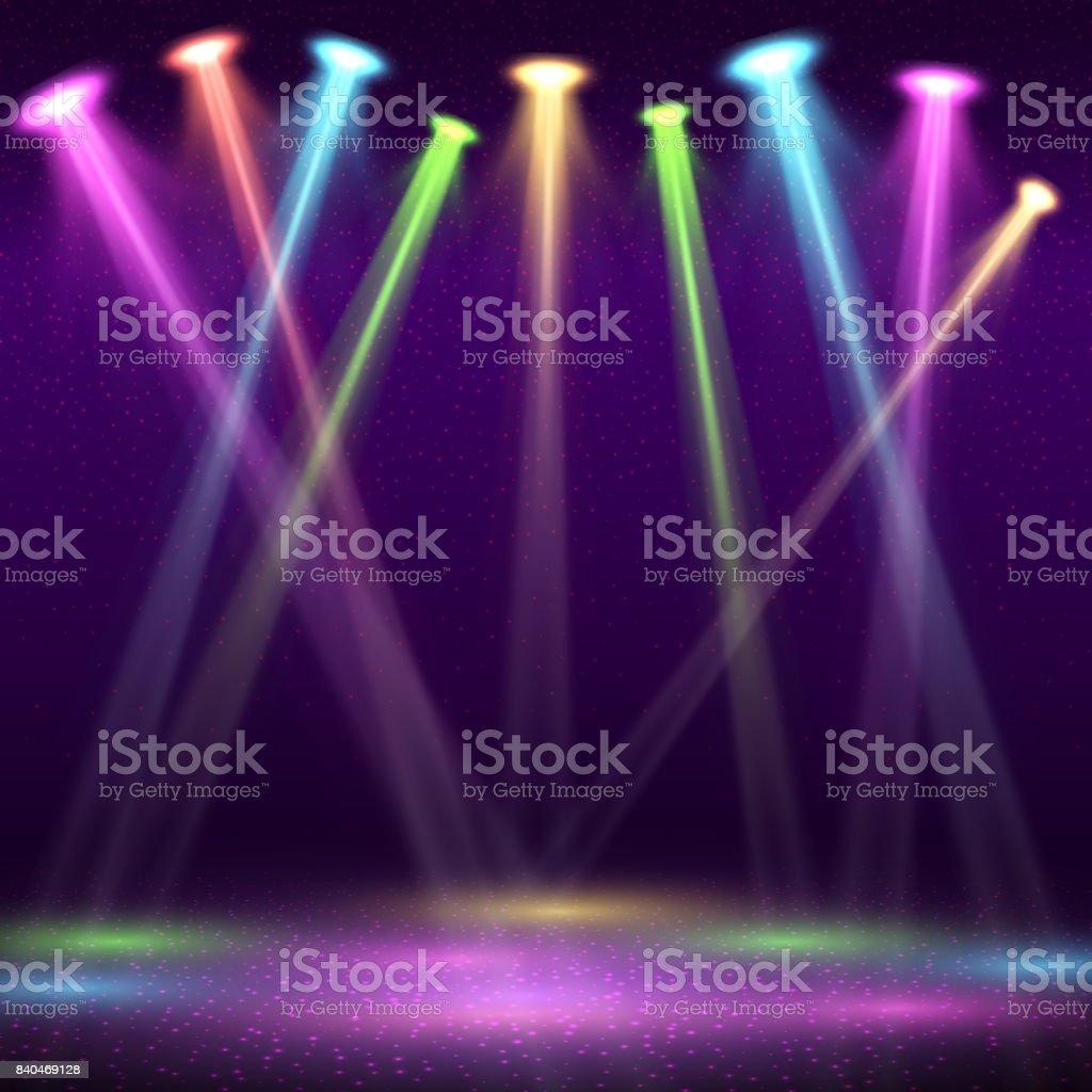 Modernes Interieur Der Nachtclub Mit Leeren Show Bühne Und Farbe ...