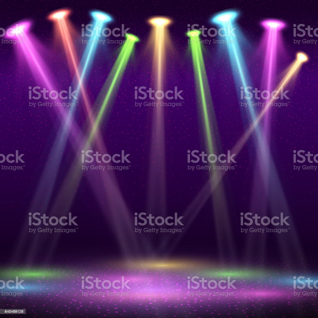 Modern interior of nightclub with empty show stage and color spot lights vector illustration vector art illustration