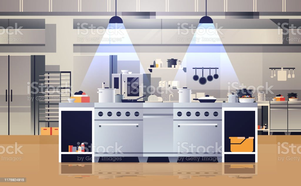 Modern Interior Of Professional Cafe Or Restaurant Kitchen With Kitchenware And Equipment Cooking Culinary Concept Flat Horizontal Stock Illustration Download Image Now Istock