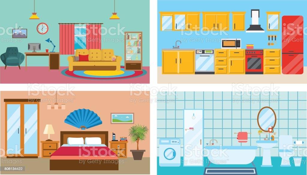 Moderne Einrichtung Der Zimmer: Wohnzimmer, Küche, Schlafzimmer, Stilvolles  Badezimmer Lizenzfreies Moderne Einrichtung