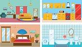 Modern interior of rooms: living room, kitchen, bedroom, stylish bathroom