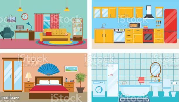 Modern interior of rooms living room kitchen bedroom stylish bathroom vector id806134422?b=1&k=6&m=806134422&s=612x612&h=mn8p56aiv55 3kvo8vqd0odcxtircps3noxmfbdyubg=