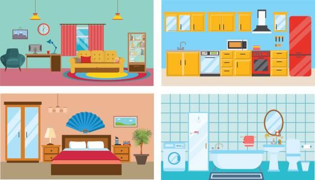 moderne einrichtung der zimmer: wohnzimmer, küche, schlafzimmer, stilvolles badezimmer - waschküchendekorationen stock-grafiken, -clipart, -cartoons und -symbole
