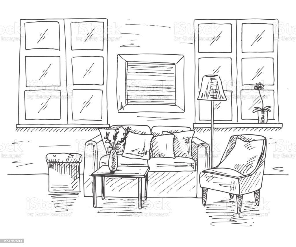 Modernes Interieur Des Zimmers Sofa Vor Dem Sofa Ist Eine Tabelle In ...