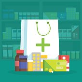 Modern interior pharmacy and drugstore. Sale of vitamins and medications. Shopping bag with different medical pills and bottles. Vector simple illustration.