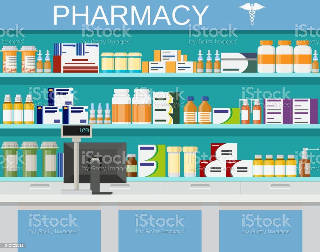 モダンなインテリアの薬局ドラッグ ストア アメリカ合衆国のベクター