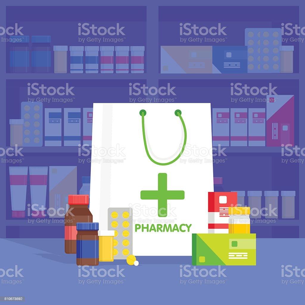 Modern interior pharmacy and drugstore.  Vector simple illustration. vector art illustration