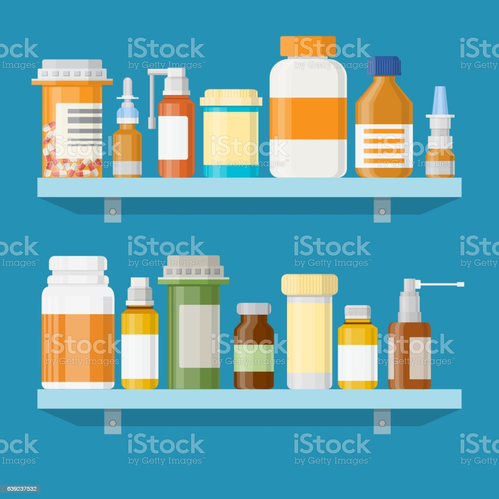 Modern interior pharmacy or drugstore. vector art illustration