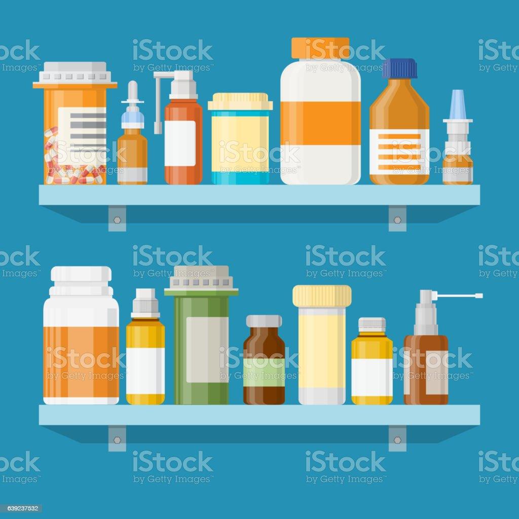 Moderno interior farmacia o farmacia. - ilustración de arte vectorial