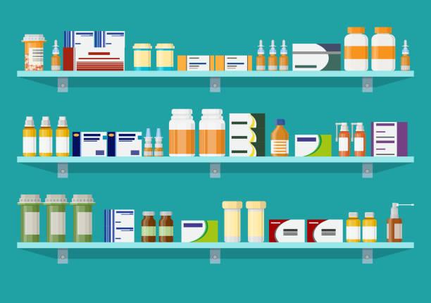Modern interior pharmacy or drugstore. vector art illustration