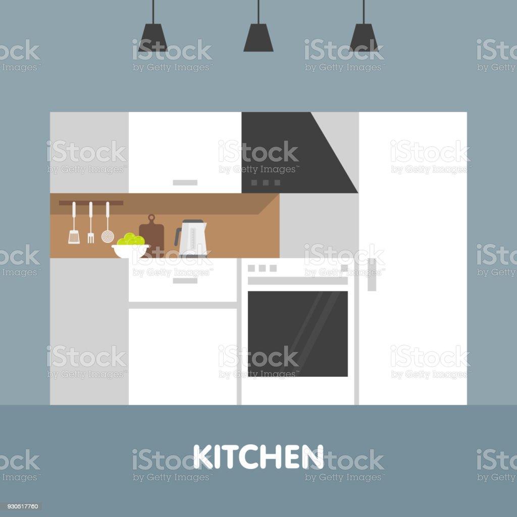 Moderno Espacio Interior En Tonos Blancos Utensilios De Cocina Y ...