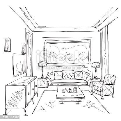 Interior Da Moderna Sala De Desenho Cadeira E Mobiliário
