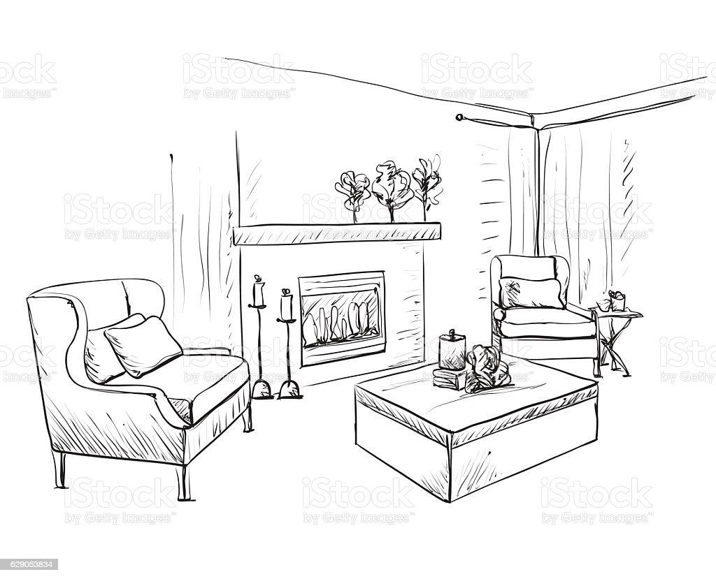 Modern Interior Room Sketch Hand Drawn Fireplace Stock Vector Art ...