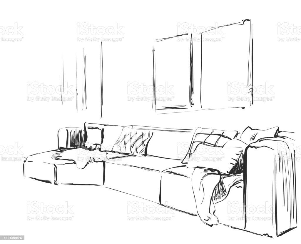 Moderne Interieur Skizze Handgezeichnet Couch Lizenzfreies Interieurskizze Stock Vektor Art