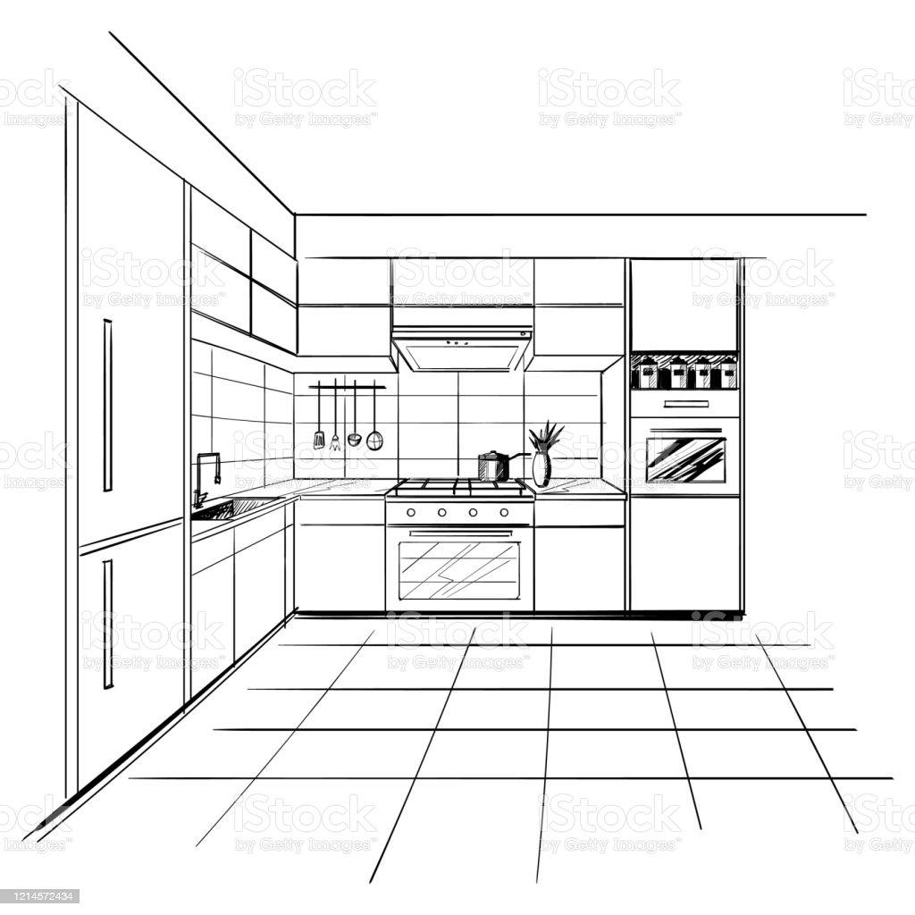 Modern Interior Sketch Of Corner Kitchen Design House Architecture ...