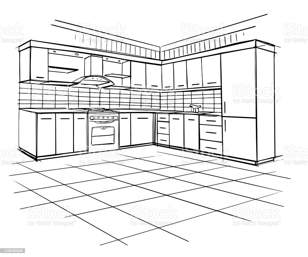 The Kitchen Sink Art Drawing Sketch Sketchbook By: Modern Interior Sketch Of Corner Kitchen Stock Vector Art