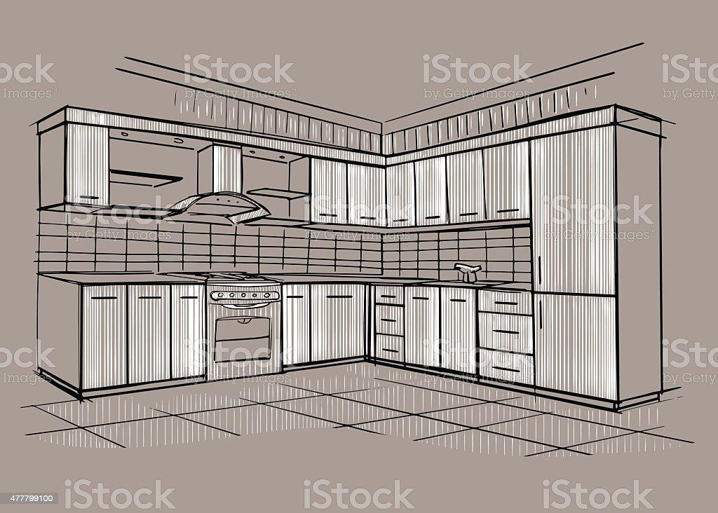 Modern Interior Sketch Of Corner Kitchen. Royalty Free Modern Interior  Sketch Of Corner Kitchen