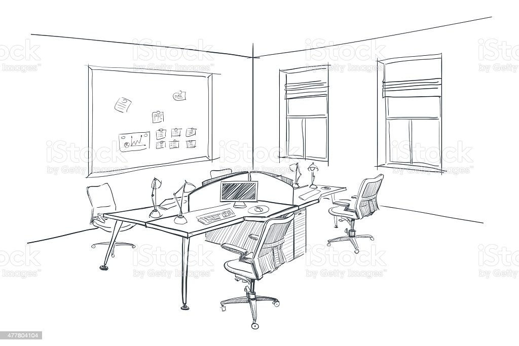 Open Office Drawing Lines : Modern interior sketch of open space office stock vector