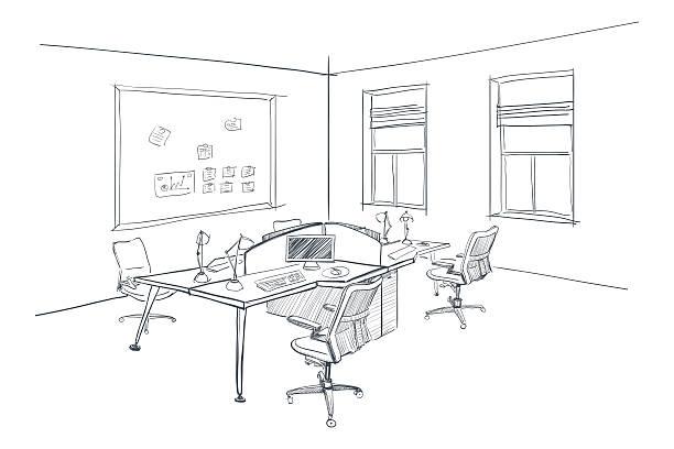 Moderne Interieur Skizze der offenen Raum Büro. – Vektorgrafik
