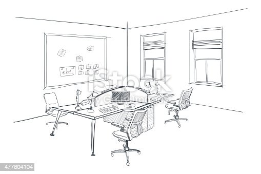 Interior Design Sketches Of Furniture ~ Modern interior sketch of open space office stock vector