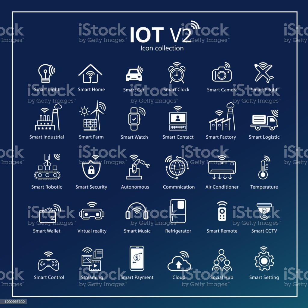 Internet moderna del icono cosas con fondo azul. Todo red Conectividad, en cualquier lugar y en cualquier momento, símbolos para IOT con diseño plano del esquema. - ilustración de arte vectorial