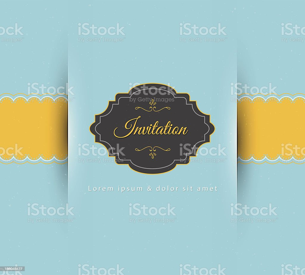 Modern invitation with emblem in light blue and yellow royalty-free modern invitation with emblem in light blue and yellow stock vector art & more images of abstract