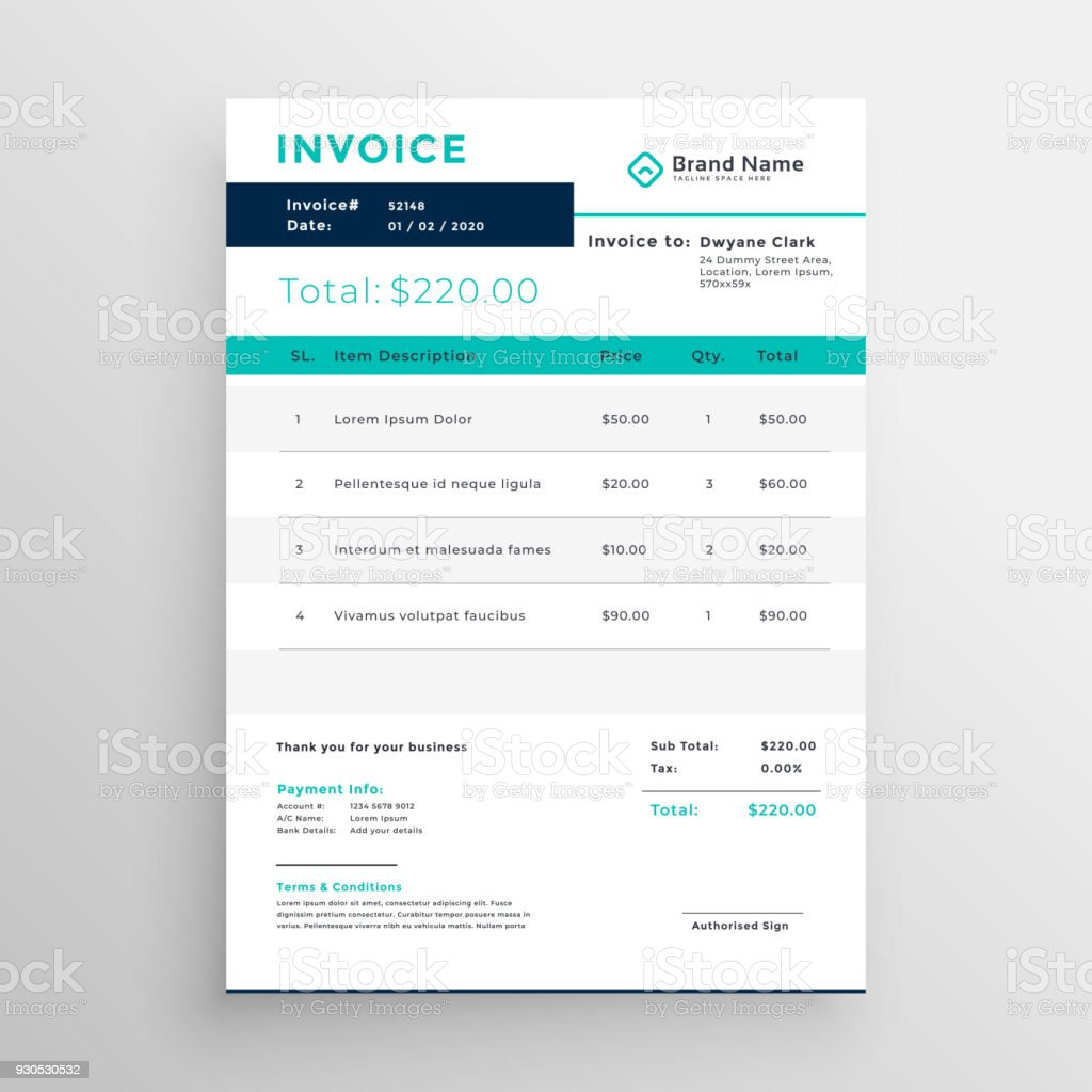 Modern Invoice Template Design For Your Business Stock Vector Art