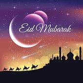 Modern islamic eid mubarak card showing muslim people midnight journey illustration