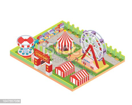 Modern Isolated Circus And Amusement Park Cartoon Illustration, Suitable for Icon, Games Asset, Inforgraphic, Map, Book Graphic, and other Related Graphic Asset