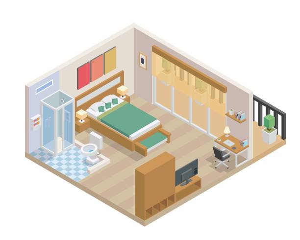 Modern Isometric Bedroom And Bathroom Interior Design Modern Bedroom And Bathroom interior design in isometric view. bedroom drawings stock illustrations