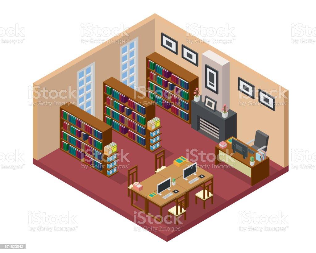 Bibliothek, Bildungseinrichtung, Campus, Universität, Wohnzimmer. Moderne  Isometrische ...