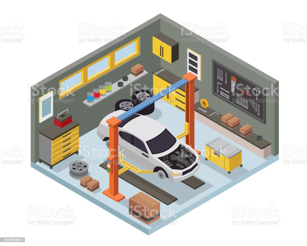 modern isometric car workshop garage interior design stock vector art more images of auto. Black Bedroom Furniture Sets. Home Design Ideas