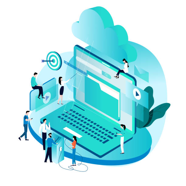 Modern isometric concept for cloud computing services and technology vector art illustration