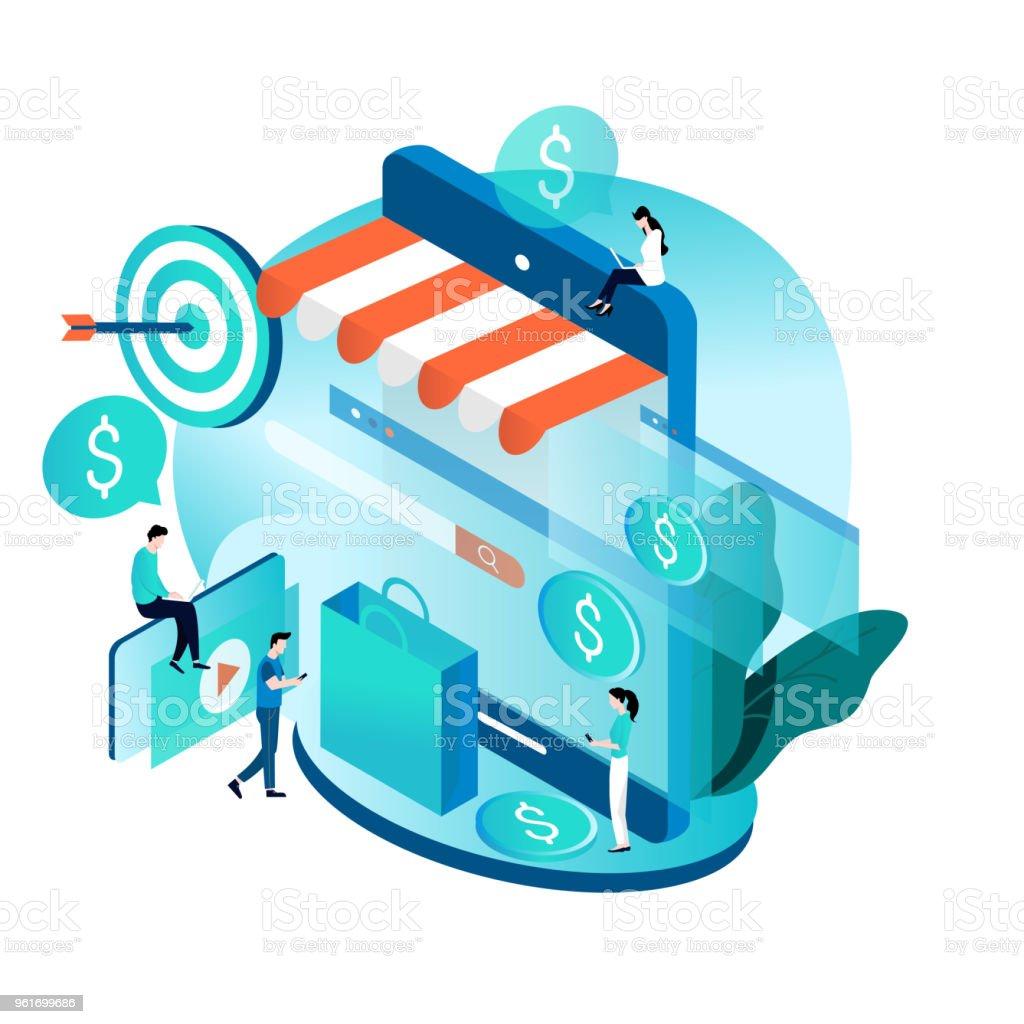 Modern isometric concept for online shopping vector art illustration