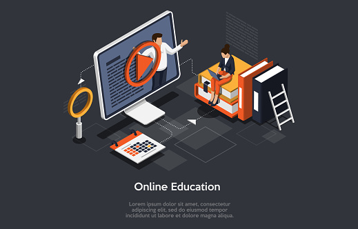 Modern isometric concept of Online Education for banner and website. Landing page template. Graduation, e-learning research, college research, back to school concept. Vector illustration.