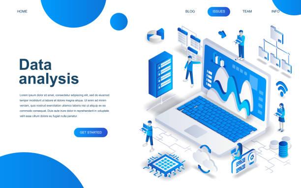 ウェブサイトやモバイル サイト開発の大きなデータ解析のモダンな等尺性デザイン コンセプト。 - webサイト点のイラスト素材/クリップアート素材/マンガ素材/アイコン素材