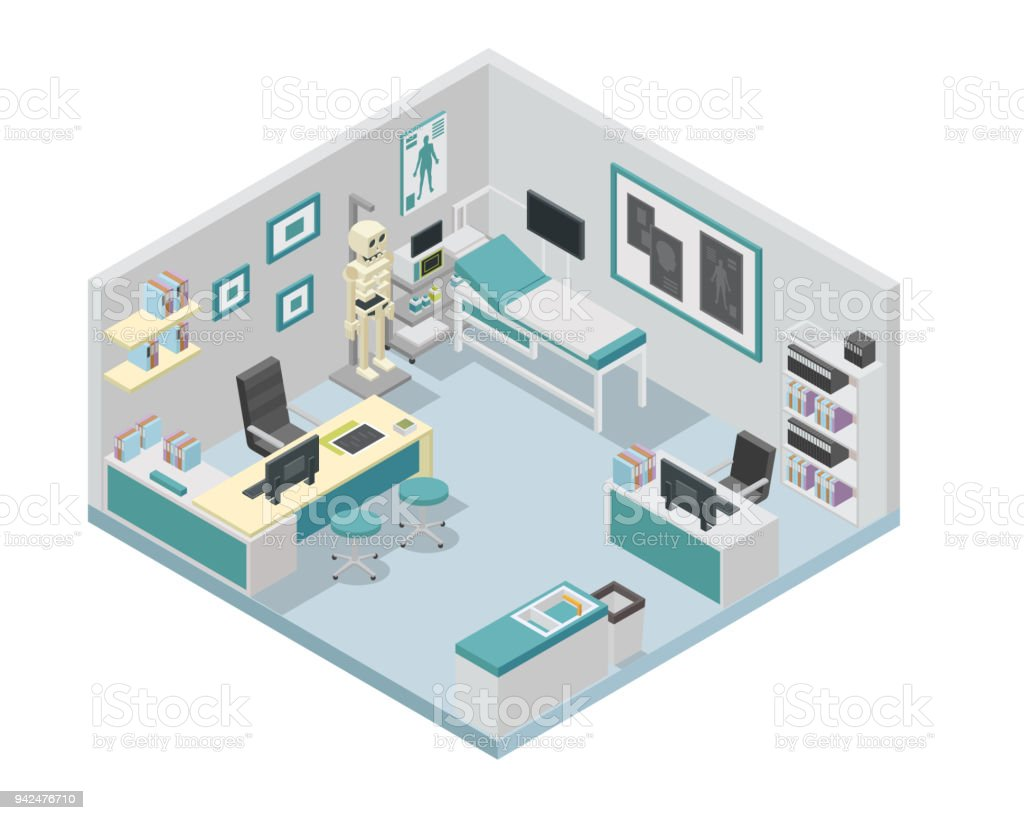 Modern isometric doctor clinic interior design illustration