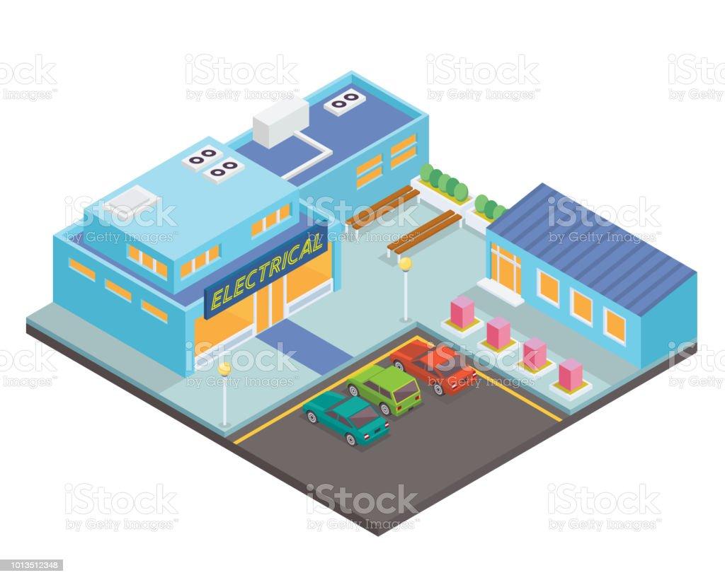 Moderna tienda eléctrica isométrico ilustración - ilustración de arte vectorial