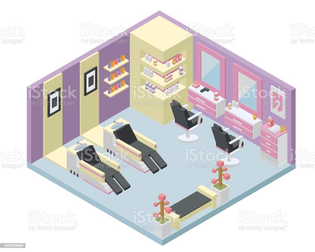 Moderne Isometrische Weibliche Schönheit Salon Interior ...