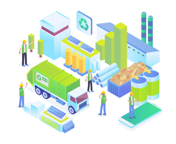 Modern Isometric Green Organic Waste Recycle Technology Illustration Concept Modern Isometric Green Organic Waste Recycle Technology Illustration in White Isolated Background With People and Digital Asset augmented reality sustainable stock illustrations