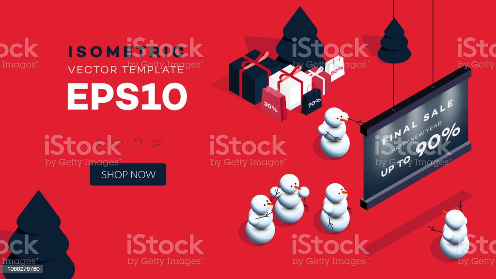 modern isometric happy new year background vector template for 2019 gift cards promotional web
