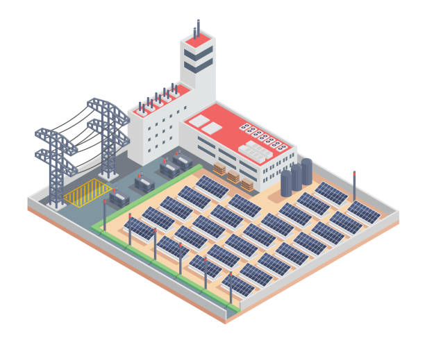 Modern Isometric Industrial Electricity Solar Plant Facility Illustration Modern Isometric Industrial Electricity Solar Plant Facility Building,Suitable for Diagrams, Infographics, Illustration, And Other Graphic Related Assets transformer stock illustrations