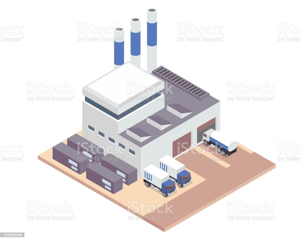 Modern Isometric Industrial Factory and Warehouse Logistic Building Illustration vector art illustration
