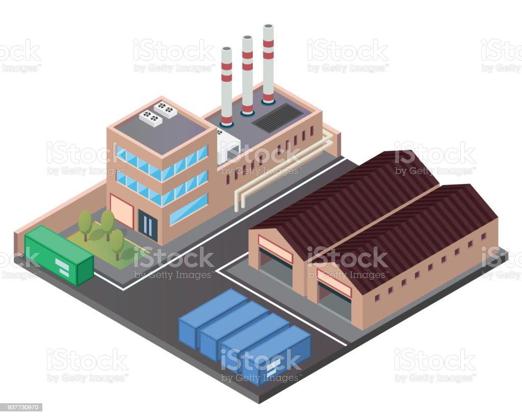 moderne isométrique industriel usine et entrepôt logistique bâtiment