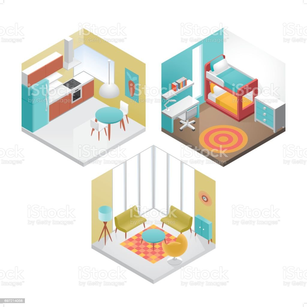 Vector Isometric Rooms Icon Stock Vector: 3 Modern Isometric Interior Icon Set Stock Illustration