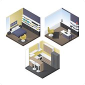 A set of 3 modern isometric interior design icon set. Each room is grouped individually.