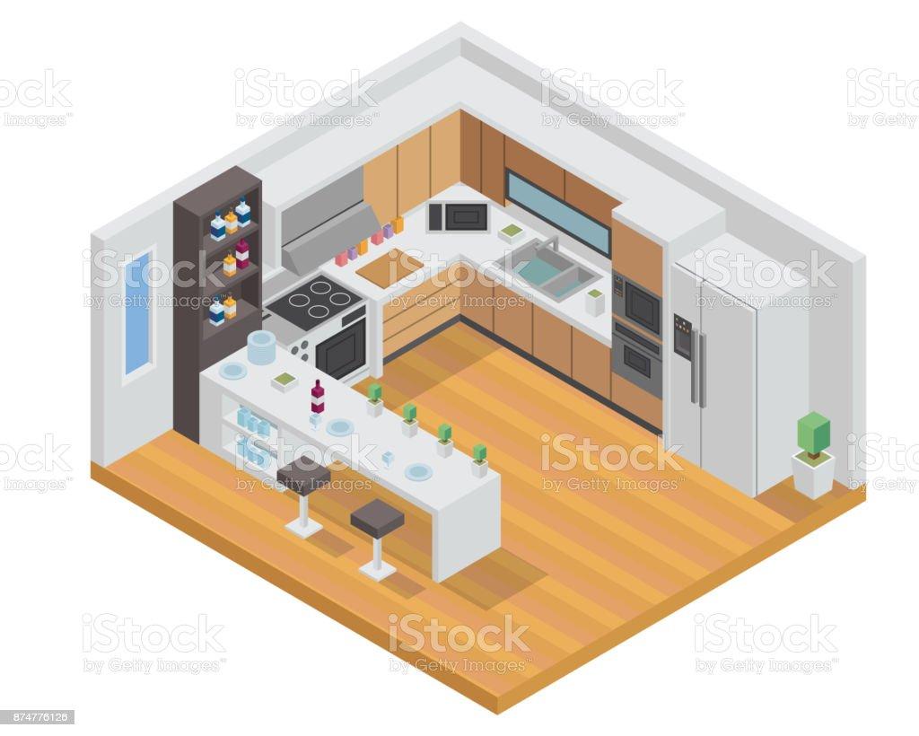 Ilustrao de ilustrao de design de interiores moderno luxo ilustrao de design de interiores moderno luxo isomtrica casa cozinha ilustrao de ilustrao de design de fandeluxe Choice Image