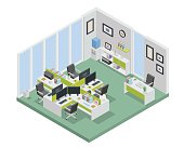 Modern productive creative office space interior design in isometric view.