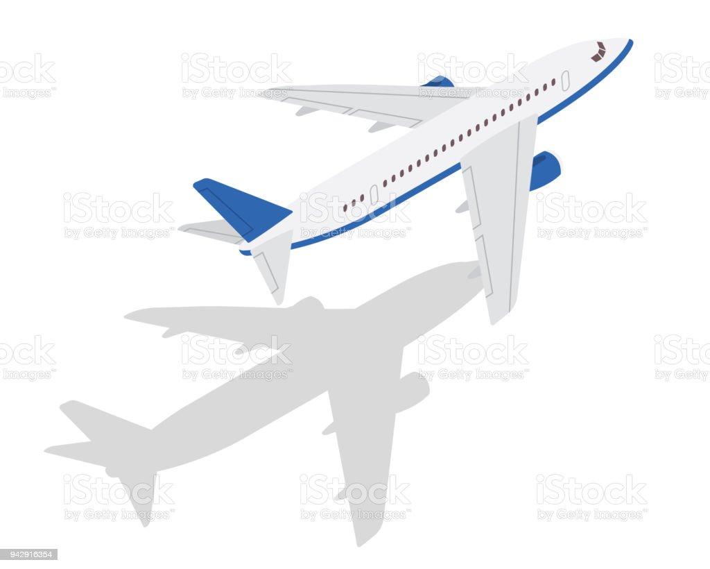 Modern Isometric Passenger Commercial Airplane Take Off Position Illustration vector art illustration